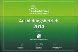 Zertifikat Ausbildungsbetrieb 2014
