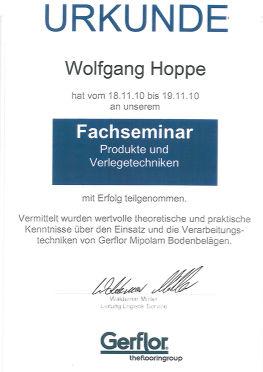 Zertifikat Herr Hoppe
