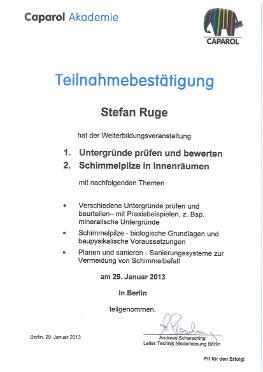 Zertifikat Herr Roge