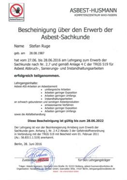 Zertifikat Herr Ruge